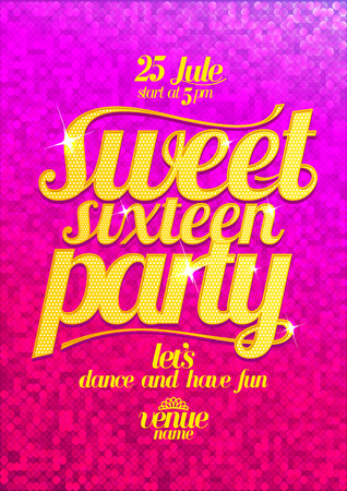 Illustration pour Sweet sixteen party fashion pink poster with gold letters and sparkles. - image libre de droit