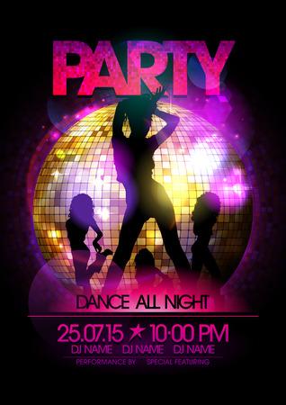 Ilustración de Dance party poster with go-go dancers girls silhouette and disco ball. - Imagen libre de derechos