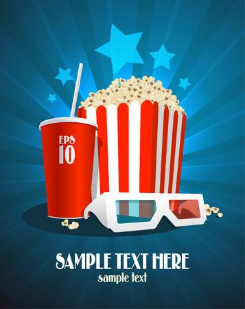 Illustration pour Cinema design template with popcorn box, cola and 3D glasses. - image libre de droit