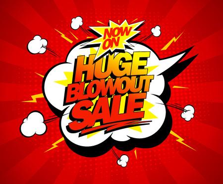 Illustration pour Huge blowout sale vector pop-art banner - image libre de droit