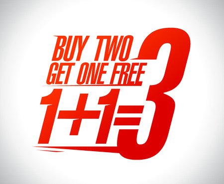 Ilustración de 1+1=3 sale design illustration. - Imagen libre de derechos