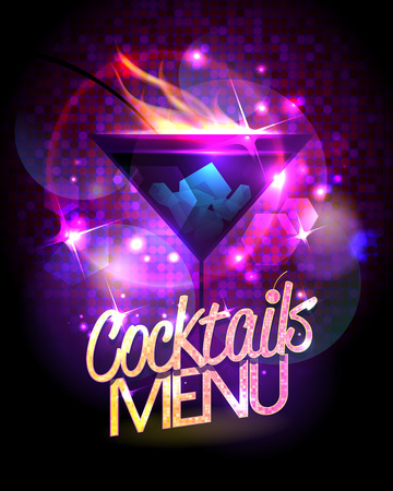 Ilustración de Cocktails menu vector design with burning cocktail against disco sparkles. - Imagen libre de derechos
