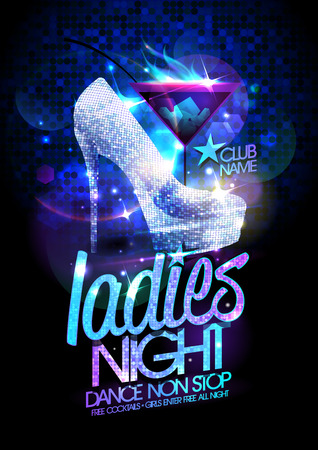 Ilustración de Ladies night poster illustration with high heeled diamond crystals shoes and burning cocktail. - Imagen libre de derechos