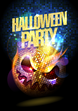 Ilustración de Halloween party poster with spooky disco ball. - Imagen libre de derechos