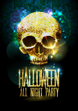 Fashion halloween party poster with gold sparkles skull.