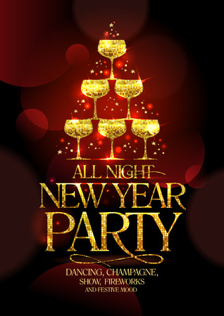 Illustration for All night New Year party poster with chic golden headline and golden stack of champagne glasses, in form of spruce decorated sparkling stars, vector illustration. - Royalty Free Image