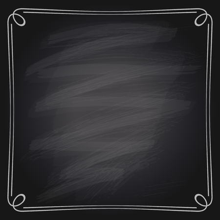 Illustration pour Vector illustration of a simple chalk frame on a chalkboard background. - image libre de droit