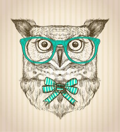 Ilustración de Cute card with hand drawn hipster owl dressed in green glasses and bow. - Imagen libre de derechos