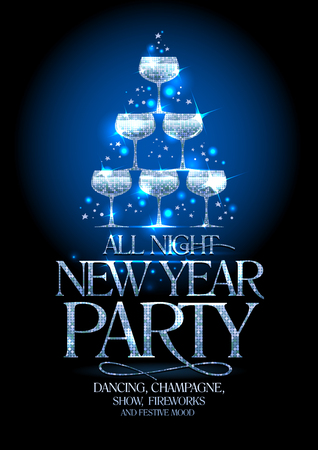 Ilustración de New Year party poster with silver stack of champagne glasses, decorated sparkling stars, vector illustration. - Imagen libre de derechos