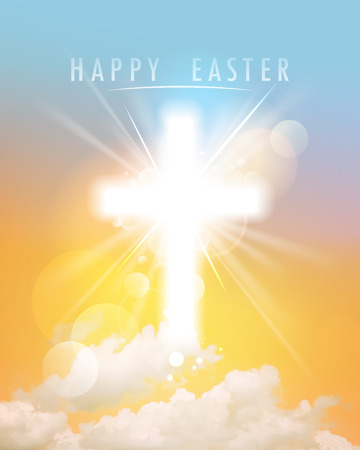 Illustration pour Abstract happy Easter background with shining cross, sky and clouds, close up - image libre de droit