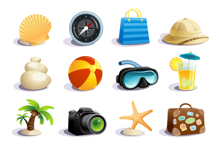 Illustration for Summer days symbols and icons vector mega collection, vacation, tourism and relax concept - Royalty Free Image