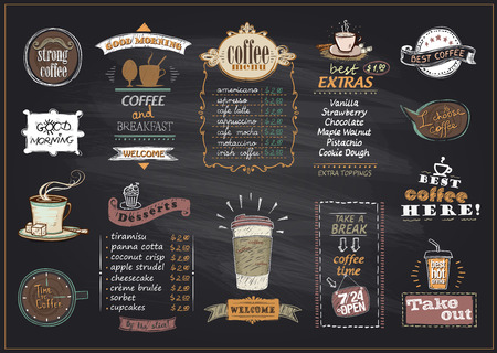 Illustration pour Chalkboard coffee and desserts menu list designs set for cafe or restaurant. Best coffee, good morning, welcome, take out concepts collection, copy space for text, hand drawn illustration - image libre de droit
