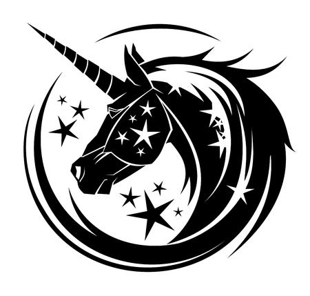 Ilustración de Unicorn head circle tattoo illustration with stars - Imagen libre de derechos