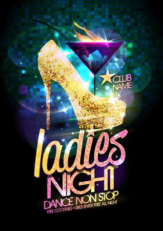 Illustration pour Ladies night vector illustration with gold crystals high heeled shoes and burning cocktail. - image libre de droit