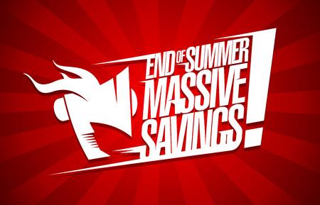 Ilustración de End of summer massive savings, sale poster concept - Imagen libre de derechos