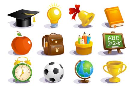 Ilustración de Set of school icons and  education concept objects - Imagen libre de derechos