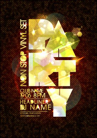 Illustration pour Vector party poster, golden mosaic letters, copy space for text - image libre de droit