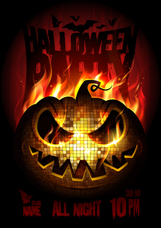 Illustration pour Halloween party poster design concept with burning angry pumpkin, fire flame, copy space for text - image libre de droit
