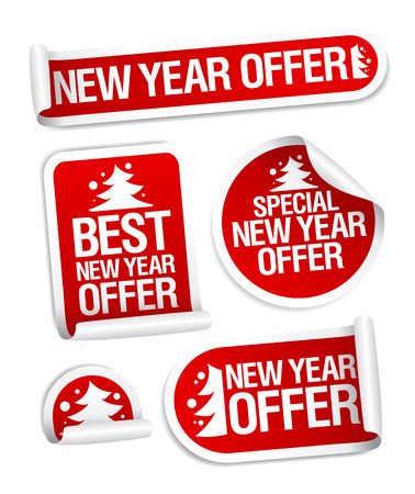 Illustration pour New year sale offer vector stickers set - image libre de droit