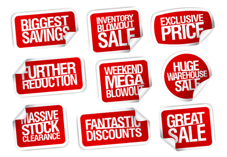 Illustration for Set of sale sticker icons. - Royalty Free Image