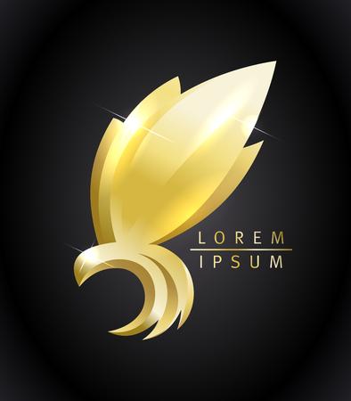 Illustrazione per Golden flying bird vector icon concept. - Immagini Royalty Free