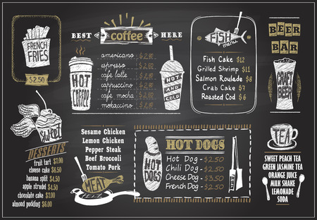 Ilustración de Chalk on a blackboard menu designs set for cafe or restaurant. Desserts menu, fish menu, tea, coffee menu, hot dogs, beer bar, hand drawn graphic illustration. - Imagen libre de derechos