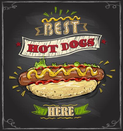 Illustration pour Best hot dogs here chalkboard menu design concept - image libre de droit