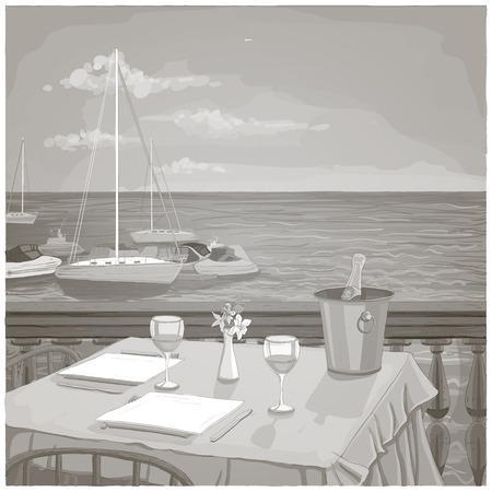 Illustration pour Graphic illustration with served restaurant table for two against ocean landscape, black and white - image libre de droit