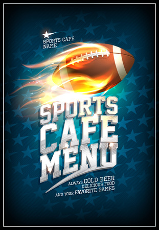 Illustration pour Sports cafe menu design concept with fiery leather rugby ball and background with stars - image libre de droit