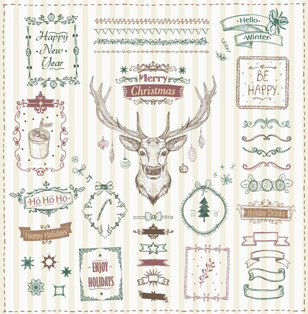 Illustration pour Hand drawn Christmas and New Year sketch elements set, doodle graphic line elements - deer, ribbons, frames, dividers and quote phrases, vintage style vector illustration - image libre de droit