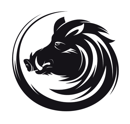 Ilustración de Boar head profile silhouette, art vector tattoo illustration - Imagen libre de derechos