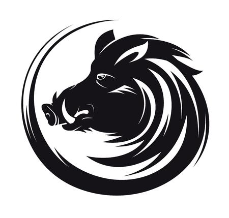Illustration pour Boar head profile silhouette, art vector tattoo illustration - image libre de droit
