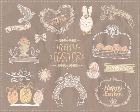 Illustration pour Easter symbols hand drawn set with floral frames, eggs, ribbons, rabbit and birds - image libre de droit