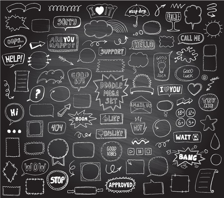 Illustration pour Graphic sketch elements set on a chalkboard - doodle graphic line signs and symbols, speech bubbles, frames, phrases, etc. Hand drawn vector illustration - image libre de droit