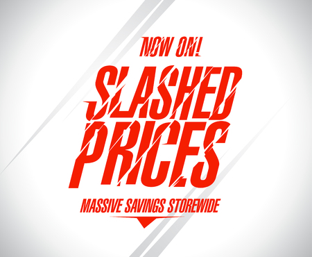 Illustration pour Slashed prices sale banner. - image libre de droit
