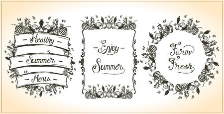 Illustration pour Vegetable frames set, , veggie elements, hand drawn graphic line illustration, vintage style. Enjoy summer, farm fresh, healthy summer menu design concept - image libre de droit