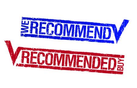 Ilustración de We recommend, recommended buy rubber stamps set - Imagen libre de derechos
