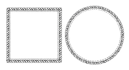 Illustration pour Simple doodle frames set, marine style with ropes. Square and round empty frames. - image libre de droit