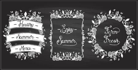 Illustration pour Vegetable frames set on a chalkboard, veggie elements, vintage style. Enjoy summer, farm fresh, healthy summer menu chalk design concept - image libre de droit