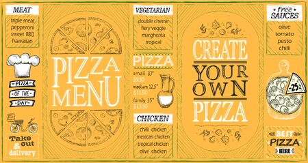 Pizza menu lists set, create your own pizza, pizza of the day, discounts, pizza delivery