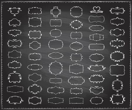Illustration pour Simple doodle chalk frames set on a chalkboard, hand drawn line graphic illustration, vector - image libre de droit