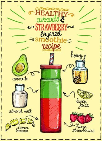 Illustration for Healthy avocado and strawberry layered smoothie recipe with ingredients, hand drawn graphic illustration - Royalty Free Image