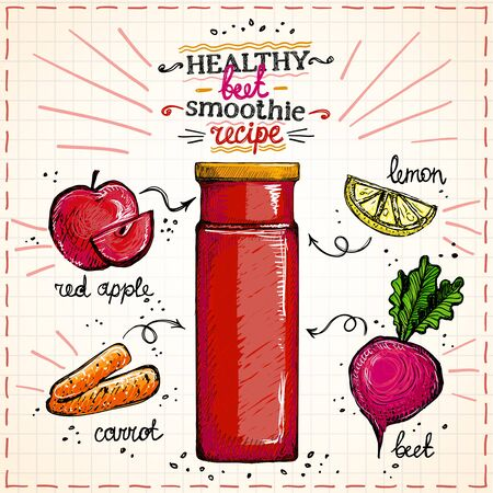 Illustration for Healthy beet smoothie recipe hand drawn sketch, vegetarian smoothie menu with ingredients, vegetables set graphic illustration - Royalty Free Image