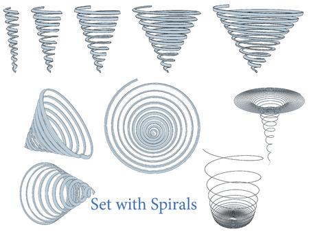 Ilustración de Vector illustration of a set of spirals. Isolated. - Imagen libre de derechos