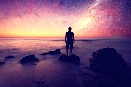 Foto de Follow your dreams, silhouette of man and many stars- elements of this image are furnished by NASA - Imagen libre de derechos