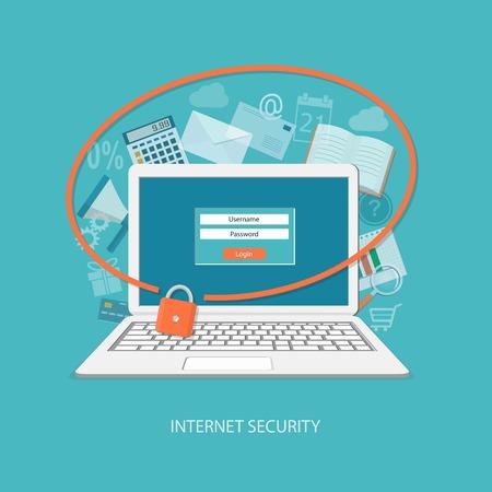 Illustration pour Flat design modern vector illustration concept of security center with laptop   - image libre de droit