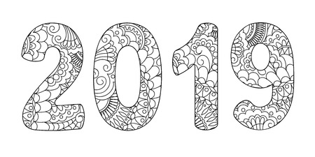 Illustration pour Handwritten number 2019 patterned with zen-tangle shapes, isolated on white. Handwritten font 2019 for decorate calendar, banner, poster, invitation, new year card, adult coloring book. eps 10 - image libre de droit