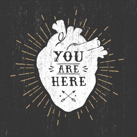 Ilustración de Hand drawn textured romantic poster with human heart and lettering vector illustrations on the black background. - Imagen libre de derechos