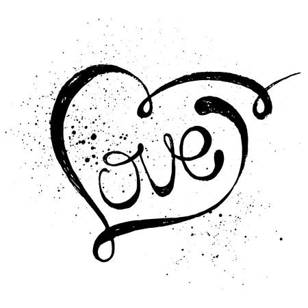 Illustration pour Hand drawn black lettering print. Love in a heart. - image libre de droit