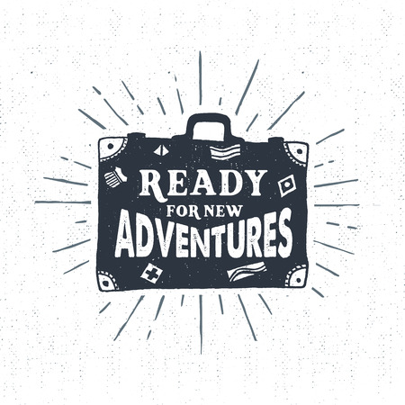 Ilustración de Hand drawn textured vintage label, retro badge with suitcase vector illustration and Ready for new adventures lettering. - Imagen libre de derechos